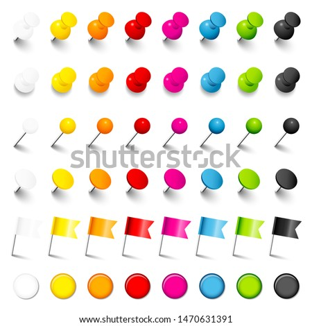 Six Different Pins Needles Flags And Magnets With Shadow Eight Colors Photo stock ©