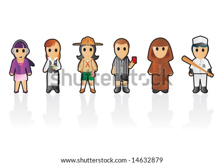 Six different professions set 6 stock vector