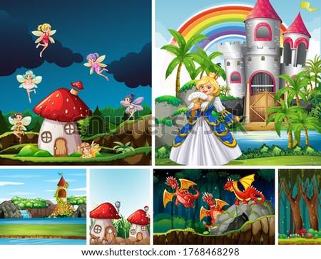 six different scene of fantasy