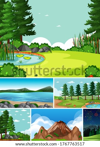 six different scenes in nature