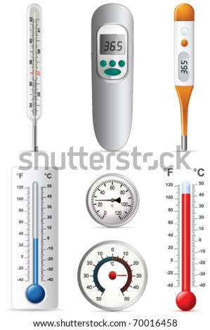 Six different types of thermometers