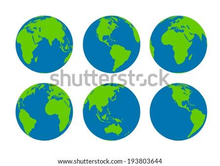 Six  Earth globes