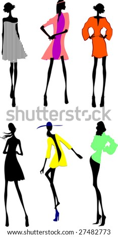 Six Fashion Girls Silhouette. More In My Portfolio. - stock vector