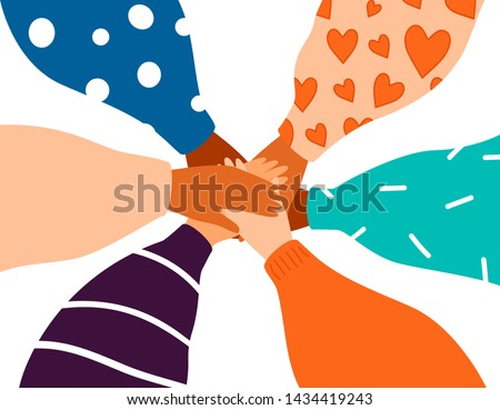 Six female hands support each other, concept of teamwork, women power. Diverse human hands united for social freedom and peace. Friendship concept on white background