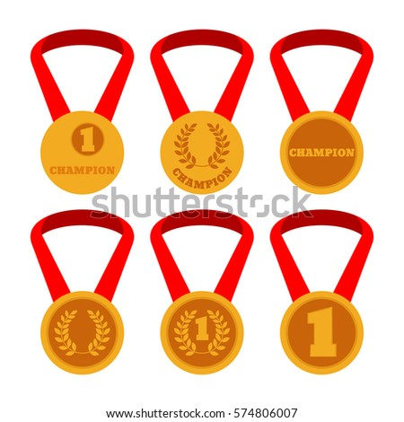 six gold medals with red