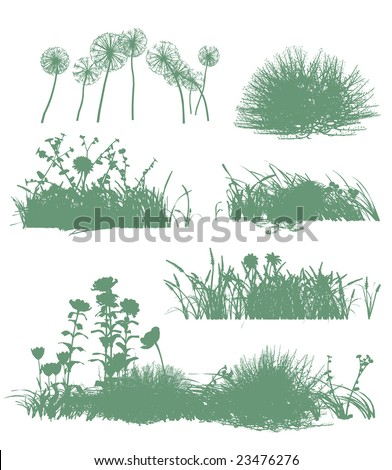 six grass silhouettes