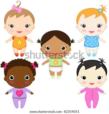 Six happy baby girls. Boys' set in my portfolio.