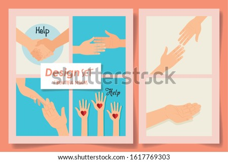Six help hands with hearts designs of Collaborative team cooperation together partnership unity idea strategy solution togetherness and occupation theme Vector illustration