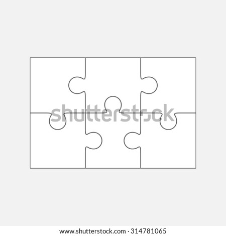 Six  jigsaw puzzle parts, blank vector 2x3 pieces isolated