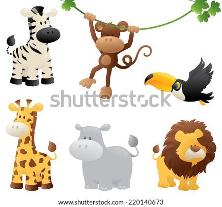 six jungle animals