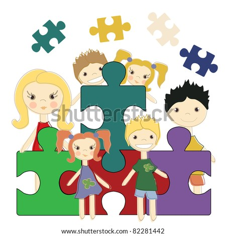 Six kids with Jigsaw puzzle, vector illustration