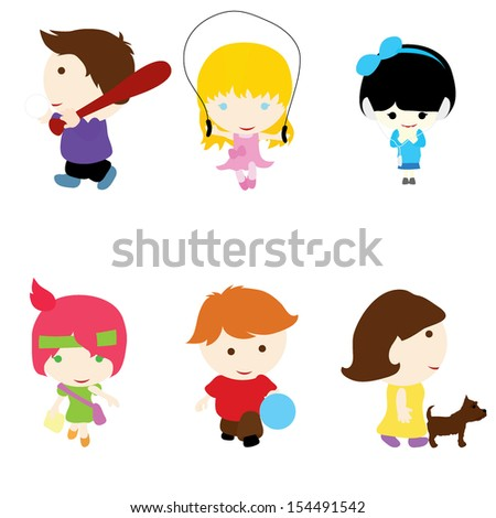 Six little children with different activities and poses