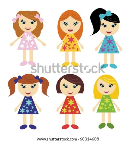 six little girls with different hair styles
