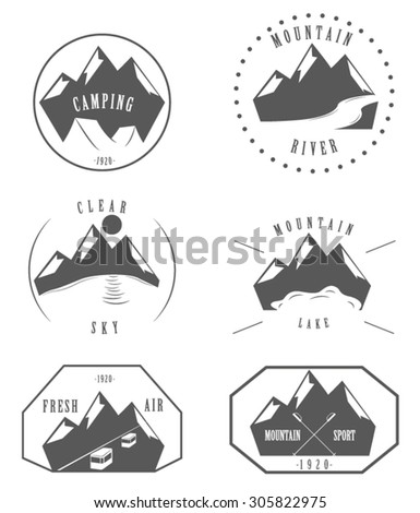 six logos of mountains vector