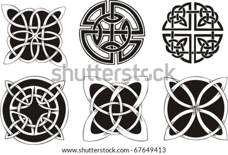 Six miscellaneous knot dingbat designs Vector vinyl-ready EPS Illustration, black and white sketches