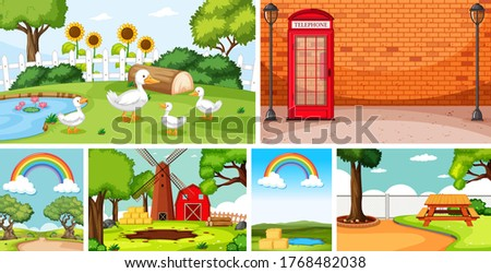 six nature scenes with