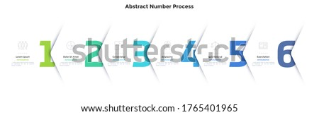 Six numbers or figures overlaid by paper white corners or arrows. Concept of 6 successive steps of business process. Minimal infographic design template. Modern vector illustration for progress bar. Foto stock ©