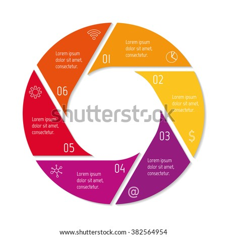 six options isolated infographic banner circular workflow layout