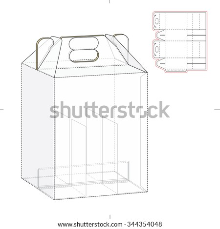 Six pack carrier box with die cut template stock vector for 6 pack beer carrier template