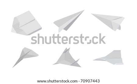 Six paper airplanes on a white background. Editable vector illustration.