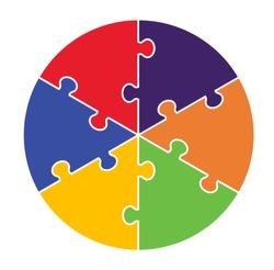 Six Part Puzzle Concept