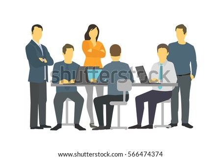 Six persons business people office teamwork meeting talking. Foto stock ©
