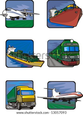 Six pictures of vehicles. Transport mashines. Vector illustration - color + b/w versions. - stock vector