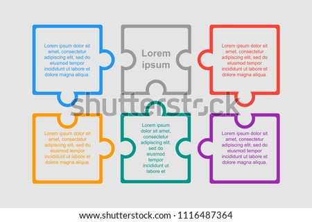 Six pieces puzzle squares diagram. Squares business presentation infographic. 6 steps, parts, pieces of process diagram. Section compare banner. Jigsaw puzzle info graphic.Marketing strategy.