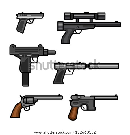 stock-vector-six-pistols-isolated-on-whi