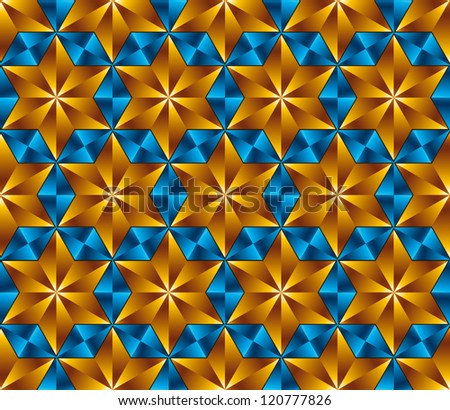 Six point stars tiles seamless pattern, vector background.
