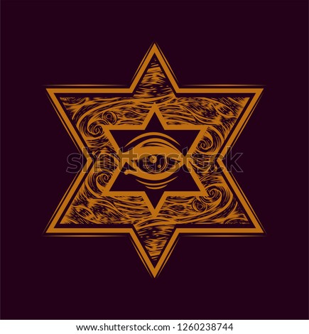 Six pointed star with all seeing eye and waves pattern. Jewish symbol. Sketch print for t shirt and tattoo art. Orange illustration on the black background.