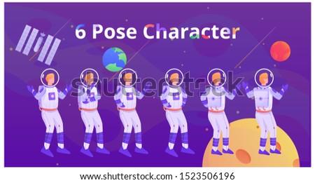 six pose astronaut man