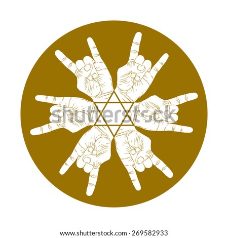 six rock hands abstract symbol