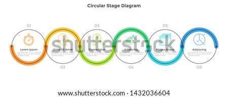 Six round links connected into horizontal chain. Concept of 6 stages of startup development plan or business strategy. Linear infographic design template. Modern vector illustration for banner.