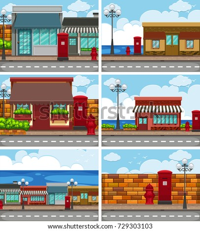 six scenes with shops along the