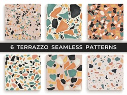 Six seamless terrazzo patterns. Hand crafted and unique patterns repeating background. Granite textured shapes in vibrant colors