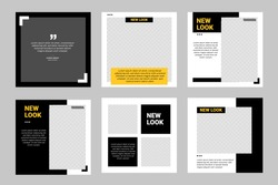 Six set editable minimal square banner template. Black yellow background color geometric square line shape. Suitable for social media post and web ads promotion. Vector illustration with photo college