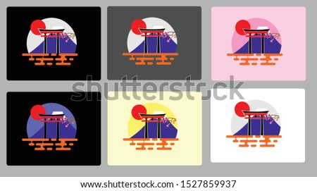 six set of mount fuji and lake