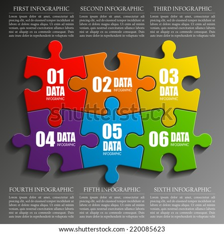 Six sided 3D puzzle presentation infographic template with explanatory text field for business statistics