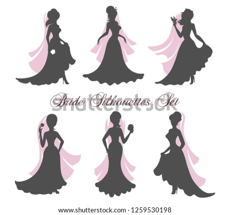 six silhouettes of brides in