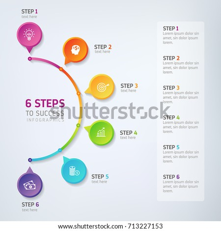 Six steps infographics - can illustrate a strategy, workflow, team work, options or way to success.