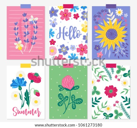 six summer cards with lavender