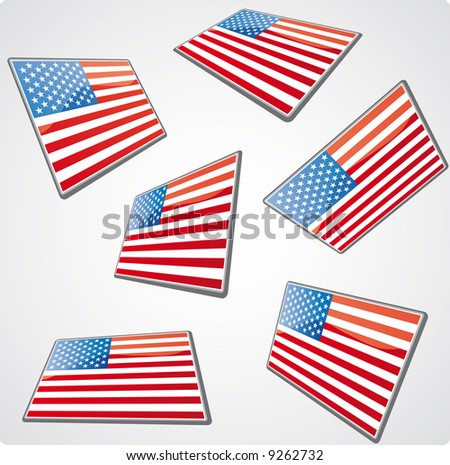 six usa flag tags in perspective views