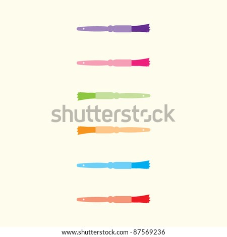 Six vector kitchen brushes on a cream background