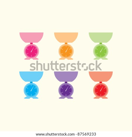 Six vector kitchen scales on a cream background