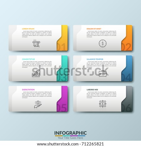Six white separate rectangular elements with numbers, thin line symbols and place for text inside. Concept of 6 business options to choose. Futuristic Infographic design template. Vector illustration.