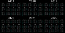 Six year calendar - 2017, 2018, 2019, 2020, 2021 and 2022 in black background