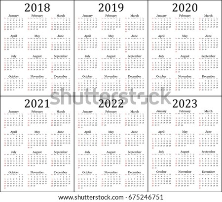 six year calendar 2018 2019 2020 2021 2022 and 2023 in