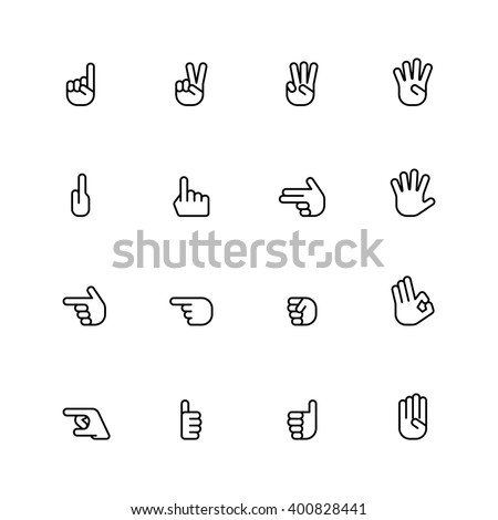 sixteen flat style hand icons isolated on white background