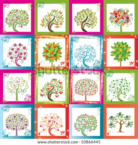 Sixteen original vector trees with frames background